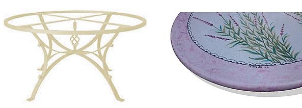 tavolo in ceramica deruta lavanda