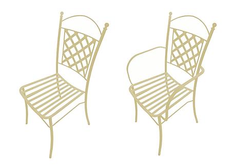 sedia in ferro battuto bianca avorio