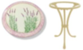 lavender ceramic garden table made in italy