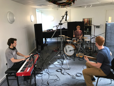 John recording 'Recife' with drummer Tim Davies and bass player Joe Bradley for Wandering Wires' recent album 'Homecoming'