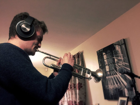 Tim Davies recording for Wandeing Wires' first album 'Departures'