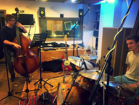Bass player Joe Bradley and drummer Tim Davies recording at Evolution Studios for Wandering Wires' first album 'Departures'