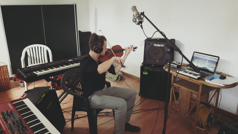 John recording for Wandering Wires' first album Departures