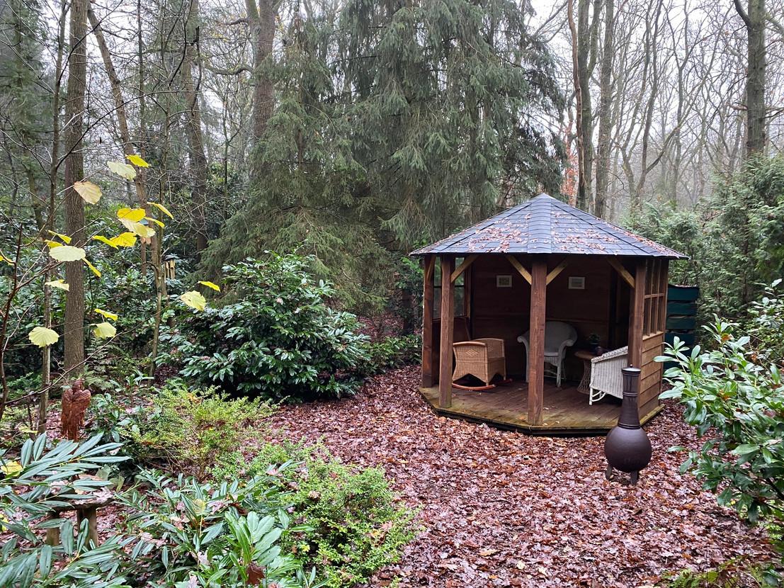 prieel in natuurhuisje boshuisje Wateren