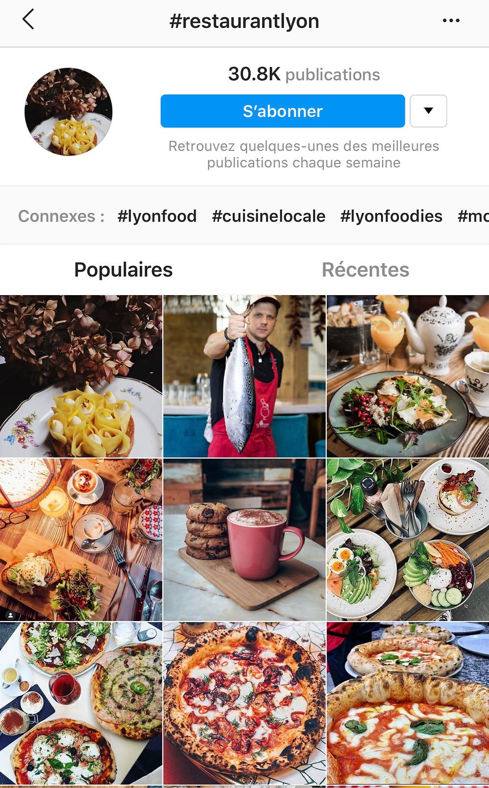 #restaurantlyon pour trouver des hashtag populaire pour votre restaurant