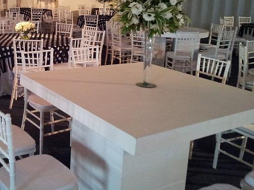 Mesa em Par de L  e Tampo de Madeira Branca