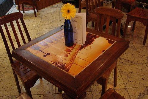 Mesa de Bar Quadrada Baixa - Madeira com Tampo de Mármore
