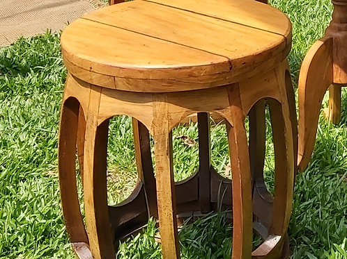 Puff Seat Garden em madeira natural