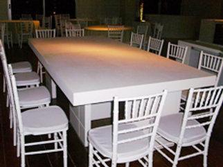 Mesa Retangular em par de L de Madeira Branca