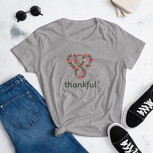 """Thankful """"Floral"""" Short Sleeve women's T-Shirt"""