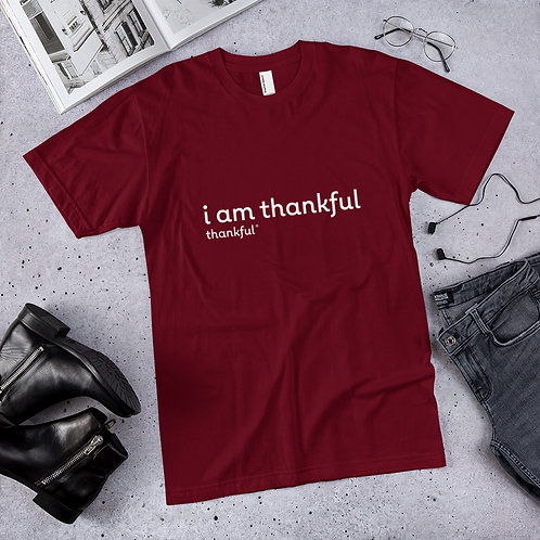 """I am Thankful"" Text Short Sleeve Men's Jersey T-Shirt"