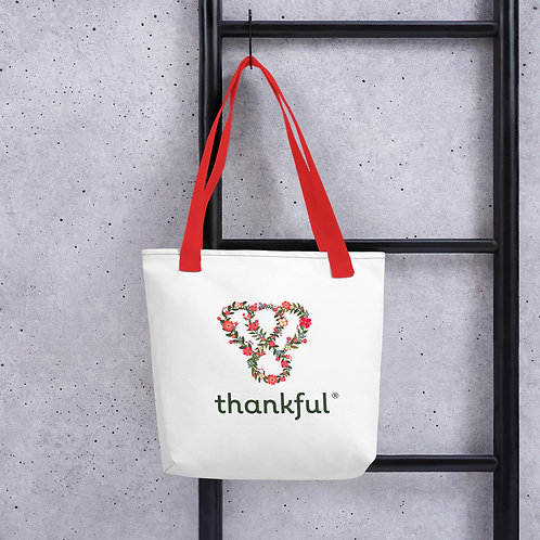"Thankful ""Floral"" Tote Weather Resistant Shopping Bag"