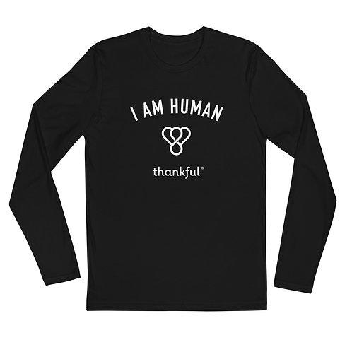 """I am Human"" Emblem Long Sleeve Men's Crew T-Shirt"