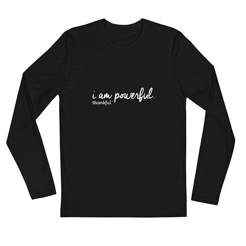 """I am Powerful"" Script Long Sleeve Men's Crew T-Shirt"