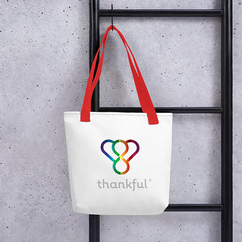 """Thankful """"Rainbow"""" Tote Weather Resistant Shopping Bag"""