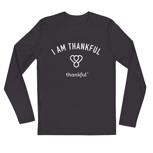 """I am Thankful"" Emblem Long Sleeve Men's Crew T-Shirt"