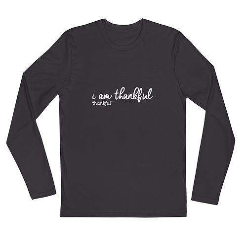"""I am Thankful"" Script Long Sleeve Men's Crew T-Shirt"