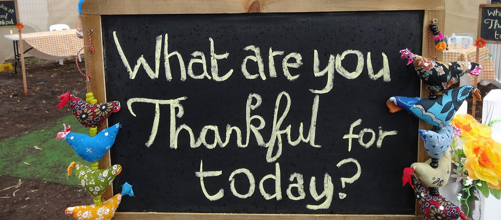 A sign saying What are you thankful for today?