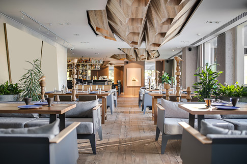 Modern-Rustic commercial restaurant and bar area