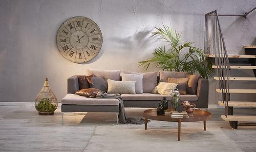 modern grey stone wall luxury living roo