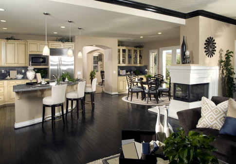 Calming ivory and black kitchen and family rooom