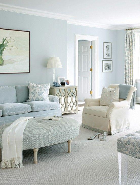 Powder blue living room with velvet sofa