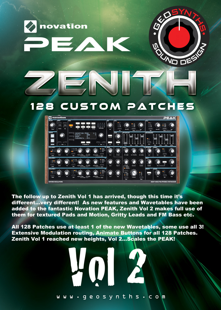 REQ: Zenith Vol 1 & 2 Bundle GEOsynths patches For Novation