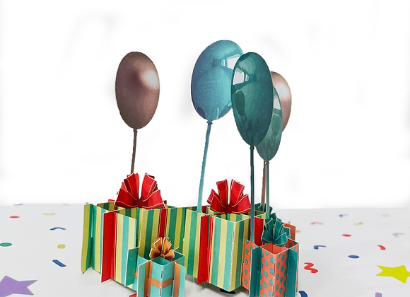 SURPRISING GIFT BOX AND BALLOON POP UP CARD