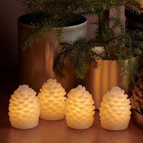 Ensemble de 4 pommes de pin lumineuses CLARA