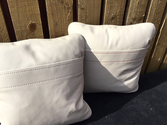 Cream Leather Hand Stitched Cushions (Pair)