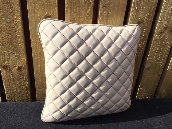 Cream Leather Quilted Cushion