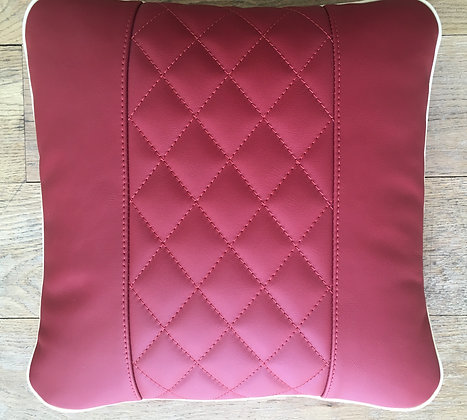Hand Stitched Red Leather Cushion with Cream Piping