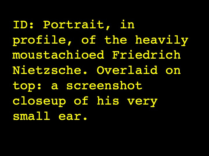 Portrait, in profile, of the heavily moustachioed Friedrich Nietzsche. Overlaid on top: a screenshot closeup of his very small ear