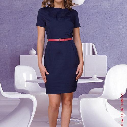 Платье Темно-Синее с овальной вставкой