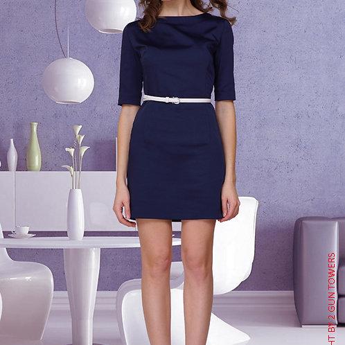 Платье-чехол мини Темно-Синее атласное с поясом