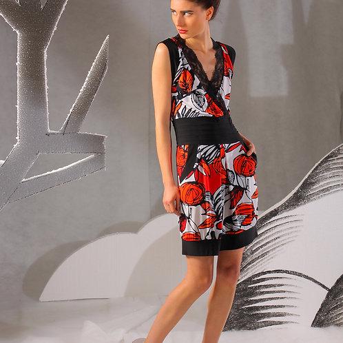 Платье Нарисованные Цветы с V-образным вырезом красное с черным