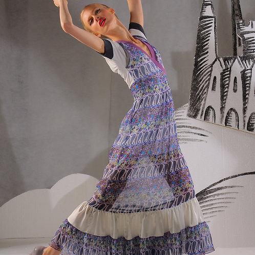 Платье шифон Бирюзовые Цветы длинное пышное