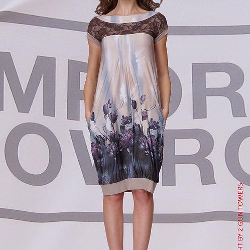 Платье Стебли Какао с кружевной кокеткой