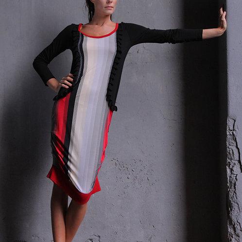 Платье Полоса с рюшами и алой отделкой