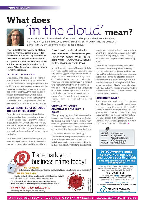 What does 'in the cloud' mean? Lisa Stoneham Straight Forward Accounting Solutions Xero