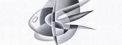 Imaginary fish graphite drawing
