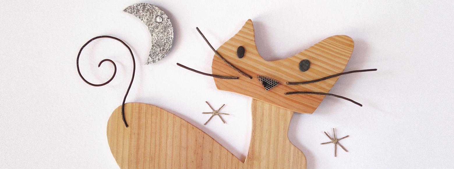 wooden cat moon illustration