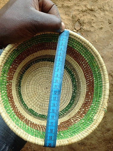 Green and brown hand woven basket