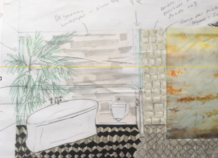 Freehand Sketch of Proposed Bathroom