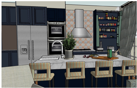 SketchUp view of Kitchen area