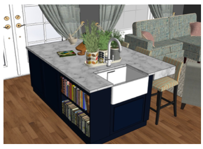 SketchUp View of Kitchen through to Living Room