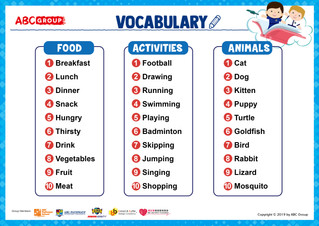 英語生字表下載 - (Food / Activities / Animals)