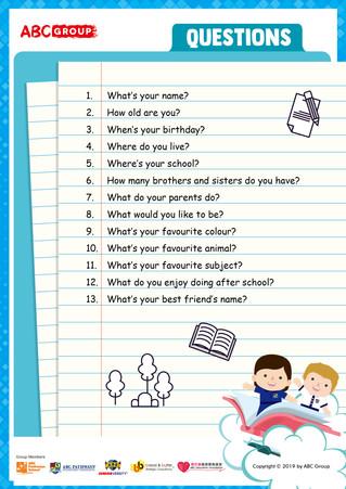 英語工作紙下載 - Questions