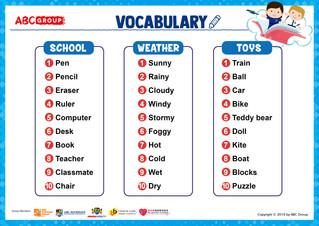 英語生字表下載 - (School / Weather / Toys)