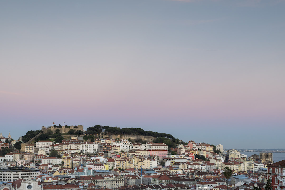 Castello di Lisbona al tramonto
